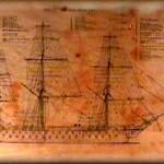 Disegno dell'alberatura e delle vele di un veliero