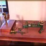 Modello di timoneria a vapore azionata da telemotore idraulico, sistema Brown